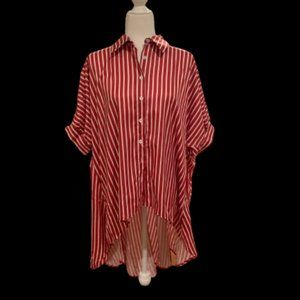 Pin Striped Red and White Asymmetric Blouse